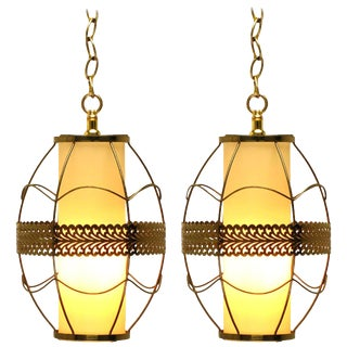 Pair of Brass Rod and Pierced Ribbon Pendant Lights For Sale
