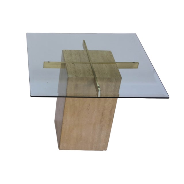 Travertine Brass & Glass End Table - Image 3 of 10