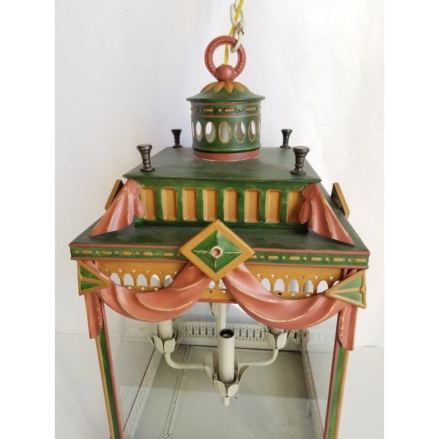 Large Highly Decorative Painted Tole Lantern For Sale - Image 4 of 13