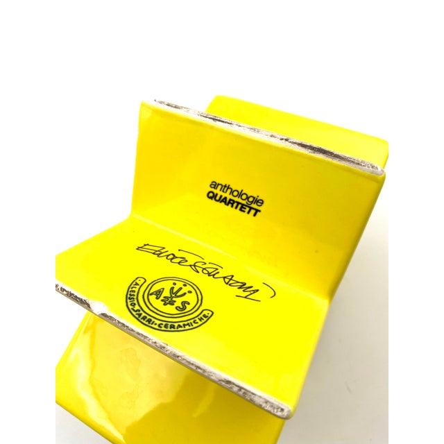 "1988 ""Ceramiche Pop"" Serie Edition ""Anthologie Quartett"" Alessio Sarri Ceramiche Yellow ""Hsing"" Vase by Ettore Sottsass For Sale - Image 11 of 13"