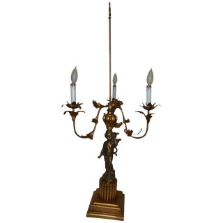 Tall Charles X Style Bronze Candelabra Lamp For Sale