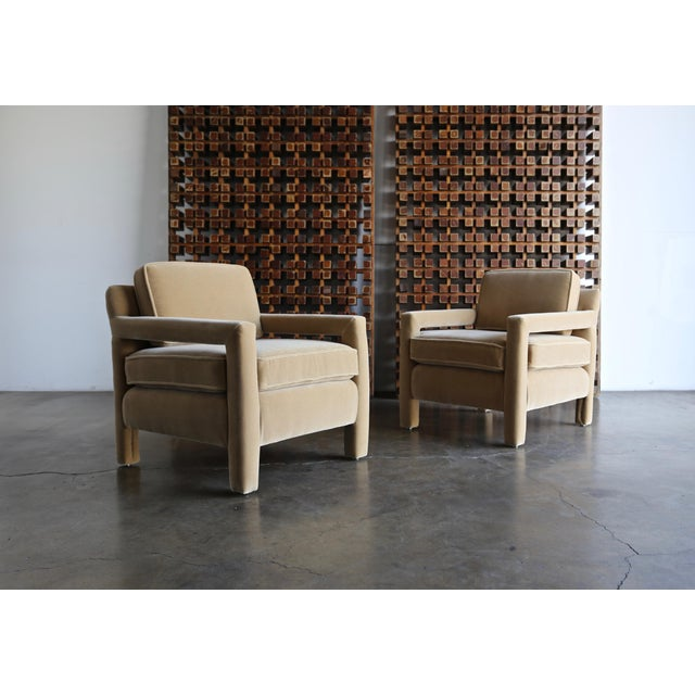 1970's Pair of Parsons Lounge Chairs Expertly Restored in Maharam Mohair.