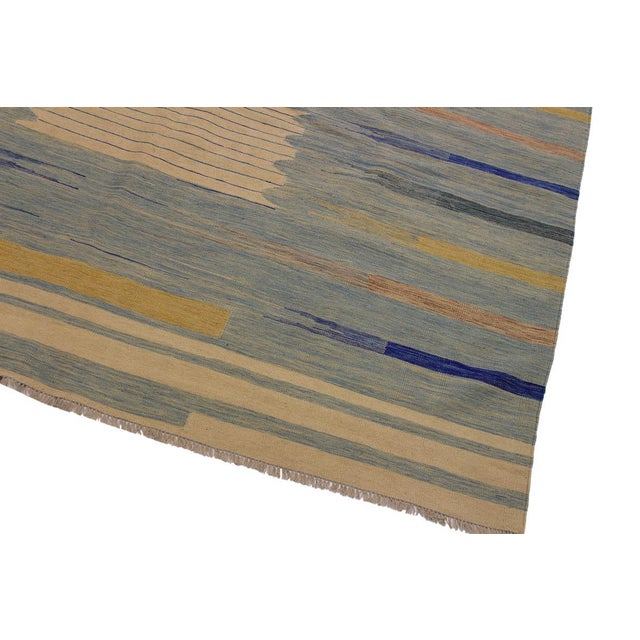 Contemporary Modern Bauhaus Shultz Blue Hand-Woven Kilim Wool Rug - 8′11″ × 12′3″ For Sale - Image 3 of 8