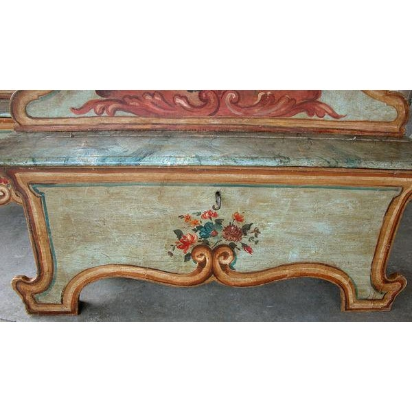 Mid 19th Century Mid 19th Century Venetian Baroque Style Pine Polychromed Highback Bench For Sale - Image 5 of 10