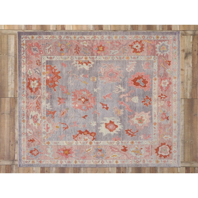 Blue Contemporary Turkish Oushak Rug With Modern Colors - 8′ × 9′7″ For Sale - Image 8 of 9
