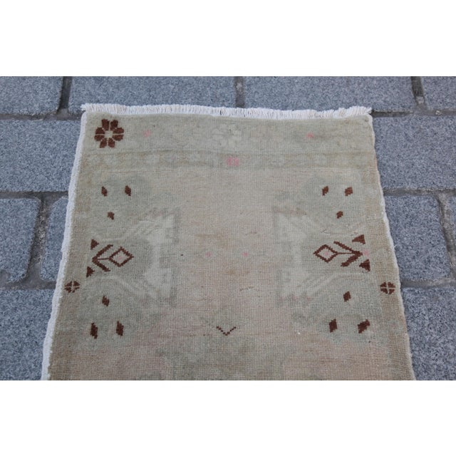 Vintage Turkish Muted Colour Carpet - 3' 5'' X 1' 8'' - Image 3 of 11
