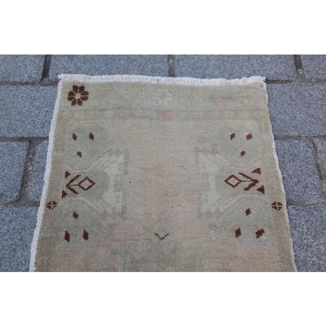 Art Deco Vintage Turkish Muted Colour Carpet - 3' 5'' X 1' 8'' For Sale - Image 3 of 11