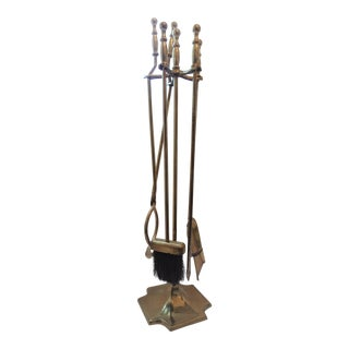 20th Century Traditional Adams 4 Piece Brass Fireplace Tool Set For Sale