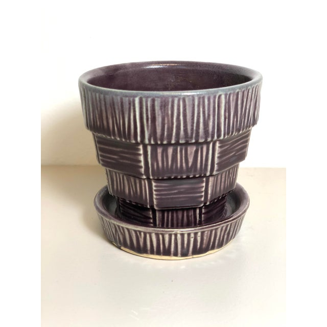 """McCoy Pottery Small """"Dark Purple"""" Mid-Century Flowerpot and Saucer For Sale In Los Angeles - Image 6 of 6"""