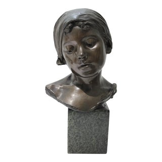 Antique Edouard Rossi of Naples.Bronze Sculpture of a Young Girl For Sale