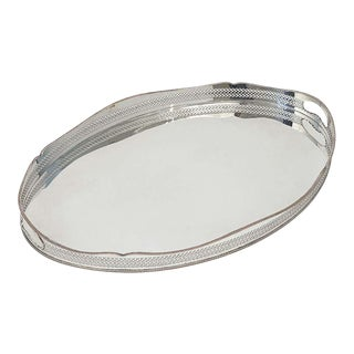 Large English Silver Oval Gallery Serving or Drinks Tray For Sale