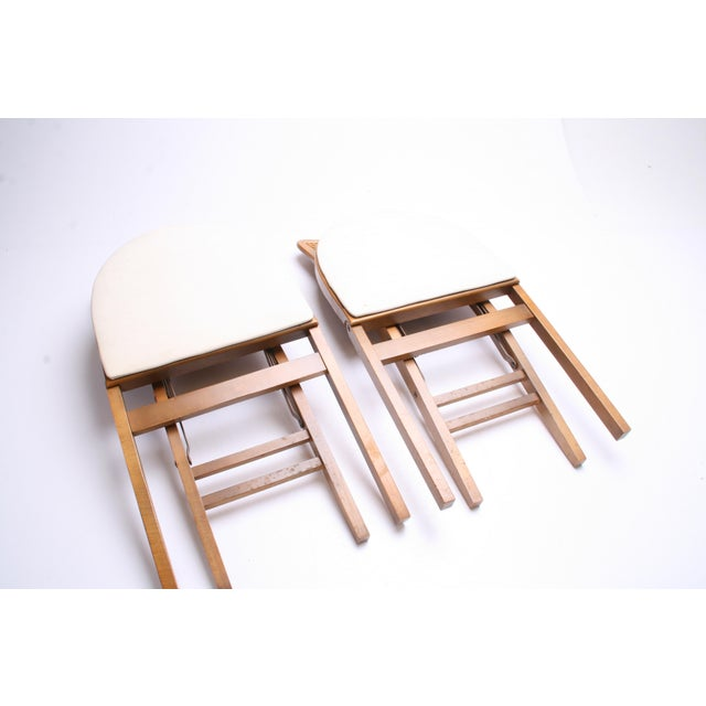 Brown Mid Century Modern Stakmore White Vinyl Wood Folding Chairs - A Pair For Sale - Image 8 of 11