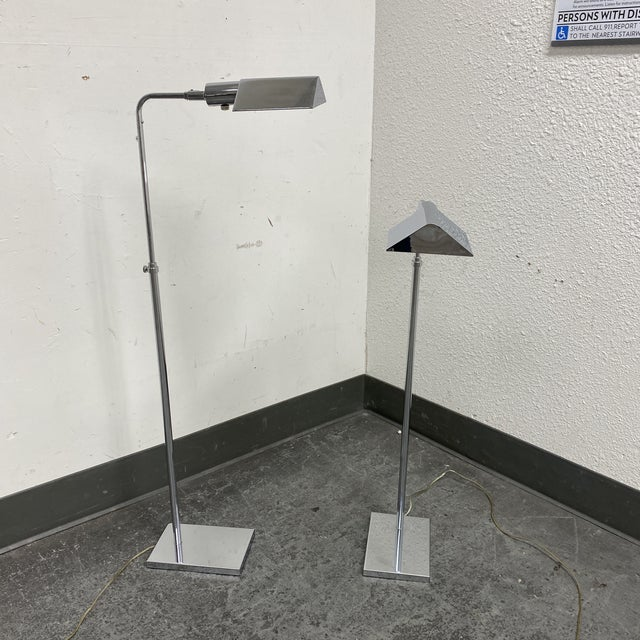 Design Plus Gallery presents a pair of Koch and Lowy Pharmacy Hartman Style Floor Lamps. Finished in a polished chrome...