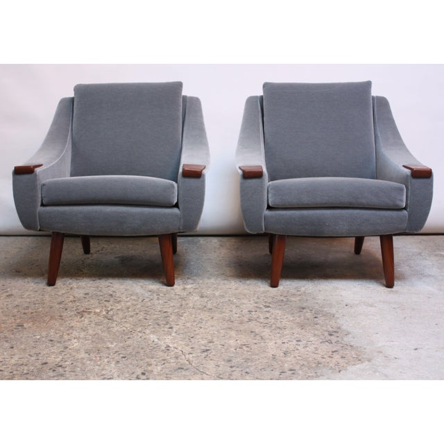 Danish Modern Pair of Danish Modern Teak and Mohair Lounge Chairs For Sale - Image 3 of 11