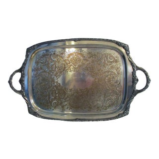 Heritage 1847 Rogers Bros. IS 9492 Rectangular Silver Plate Serving Tray For Sale