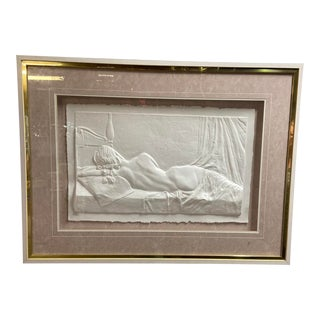 Nude Woman Reclined Sculpted Artwork in Box Frame For Sale