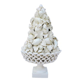 1970s Vintage Italian Blanc De Chine Majolica White Topiary For Sale