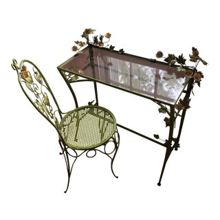 1950s Metal Green Tole Flower Writing Desk & Chair - 2 Pieces For Sale