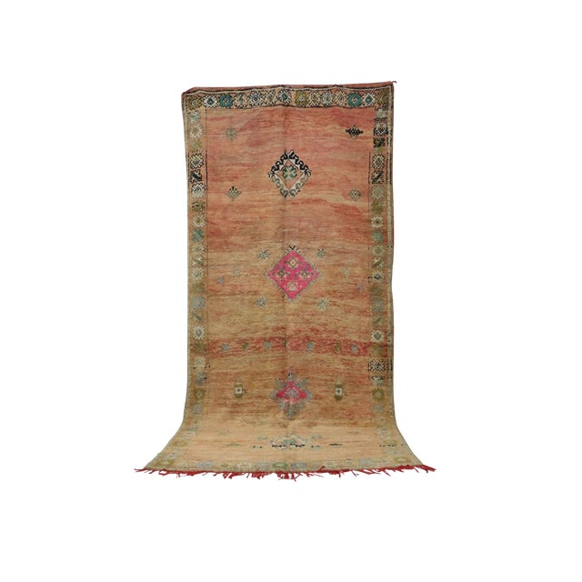 1970s Vintage Moroccan Boujad Rug- 6′8″ × 13′7″ For Sale