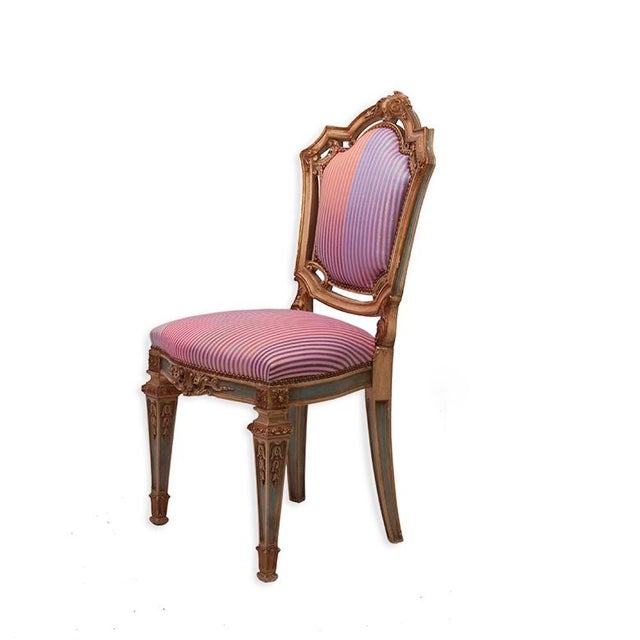 Louis XVI Side Chairs in Syrian Damascus Metallic Stripes - Pair - Image 3 of 4