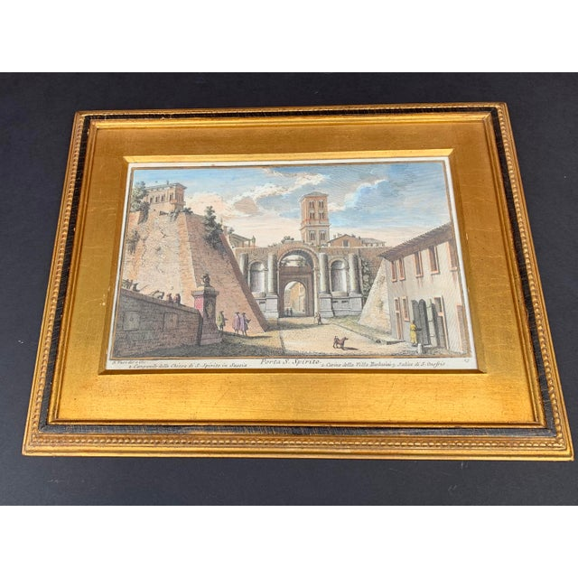 Early 20th Century Antique Porta S. Spirito Framed Hand-Colored Engraving For Sale In Chicago - Image 6 of 10