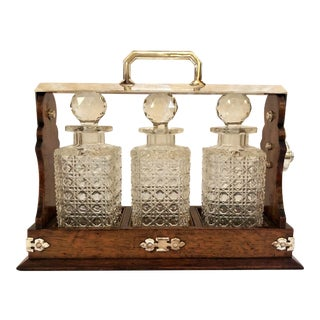 Antique English Three Bottle Golden Oak Tantalus, Circa 1880. For Sale