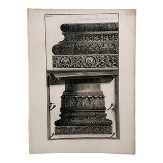 """Piranesi Engraving of """"Bases of 2 Columns"""" For Sale"""