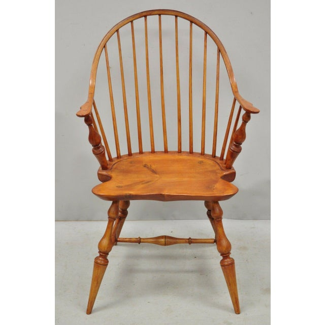 Antique d.r. Dimes Wooden Windsor Bow Back Continuous Arm Dining Chair (B) For Sale - Image 12 of 13