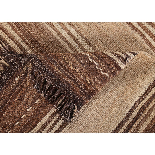 Textile Turkish Kilim Rug With Brown Stripes on Beige Field For Sale - Image 7 of 8