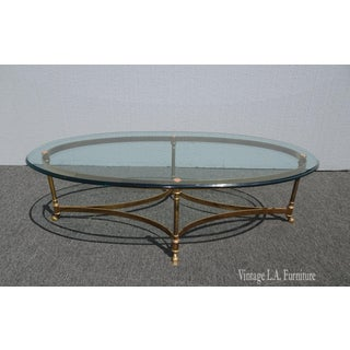 Vintage French Provincial Gold Brass Cocktail Coffee Table W Hoof Feet Preview