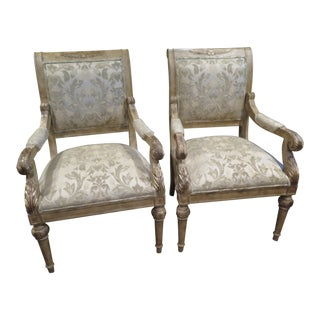 1990s Vintage Antique White Louis XIV Style Arm Chairs- A Pair For Sale