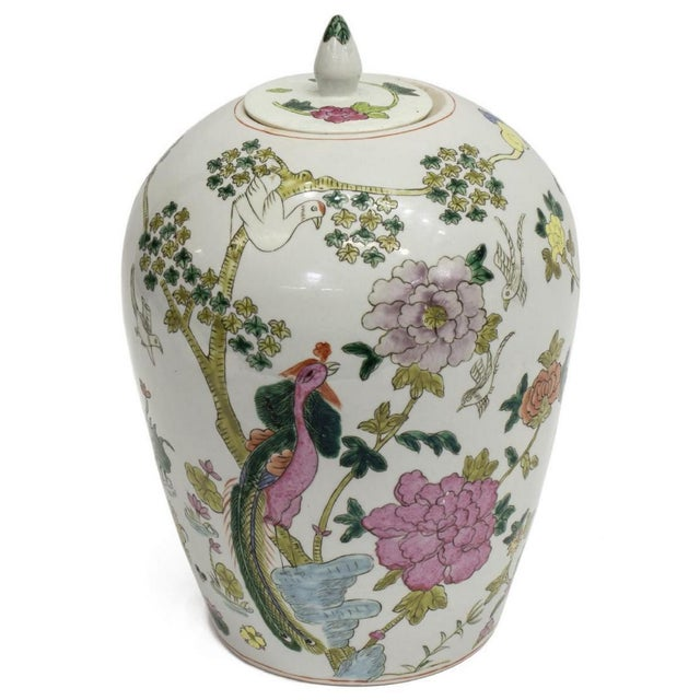 Mid-Century Chinese Famille Rose Porcelain Covered Jar For Sale - Image 4 of 4