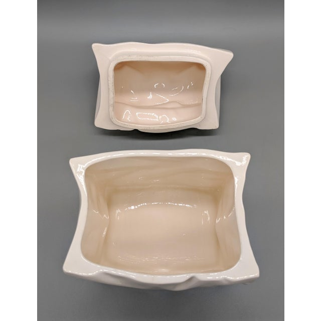 Vintage White Paper Bag Cookie Jar For Sale - Image 4 of 9
