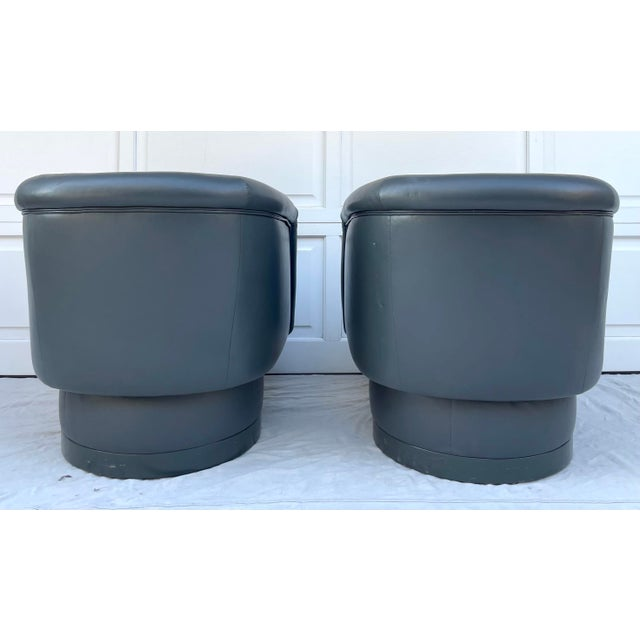 Charcoal Postmodern Leon Rosen Style Swivel Tub Chairs - a Pair For Sale - Image 8 of 13
