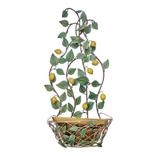 1950s Vintage Mid-Century Modern Italian Painted Metal Wall Planter For Sale