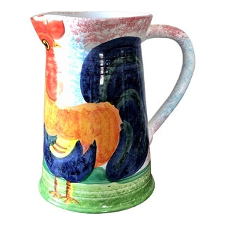 Large Bellini Italian Pottery Rooster Pitcher For Sale