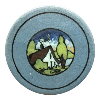 Paul Revere Pottery Saturday Evening Girls Cottage on Lake W/ Trees Painted Tile For Sale