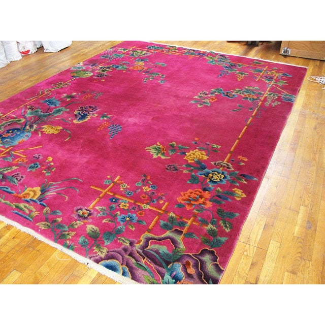 1920s Chinese Art Hot Pink Deco Rug - 8′8″ × 11′ For Sale - Image 4 of 6
