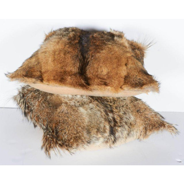 2010s Pair of Luxury Fur Throw Pillows in Genuine Coyote and Cashmere For Sale - Image 5 of 10