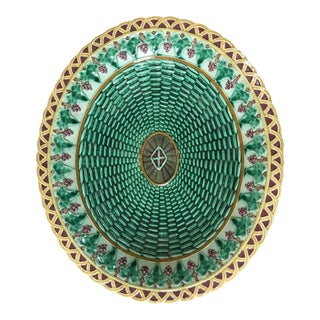 19th Century English Majolica Wedgwood Wicker and Ivy Leaves Platter For Sale