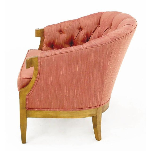 Winsor White & William Millington for Baker Button-Tufted Silk & Walnut Club Cha - Image 3 of 9