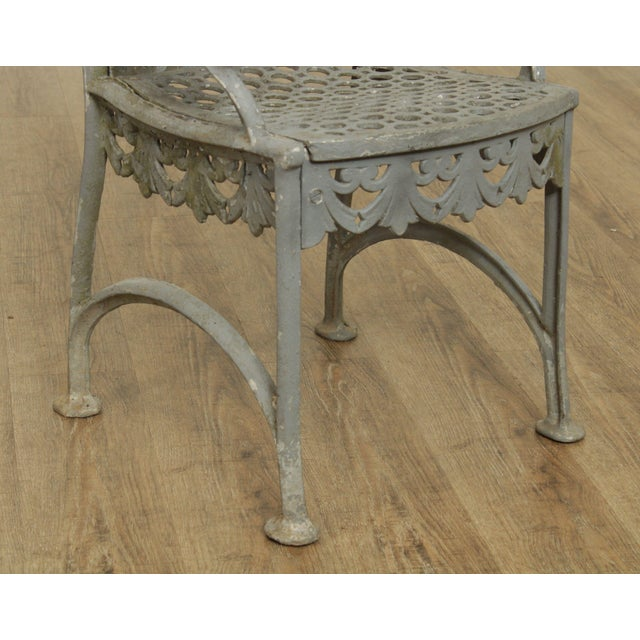 Metal Antique Cast Iron Pair of Garden Cemetery Armchairs, Fred Gensel & Co. For Sale - Image 7 of 13