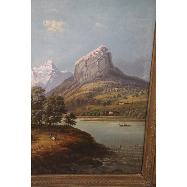 19th Century Oil Painting on Canvas Mountain Landscape For Sale - Image 4 of 12