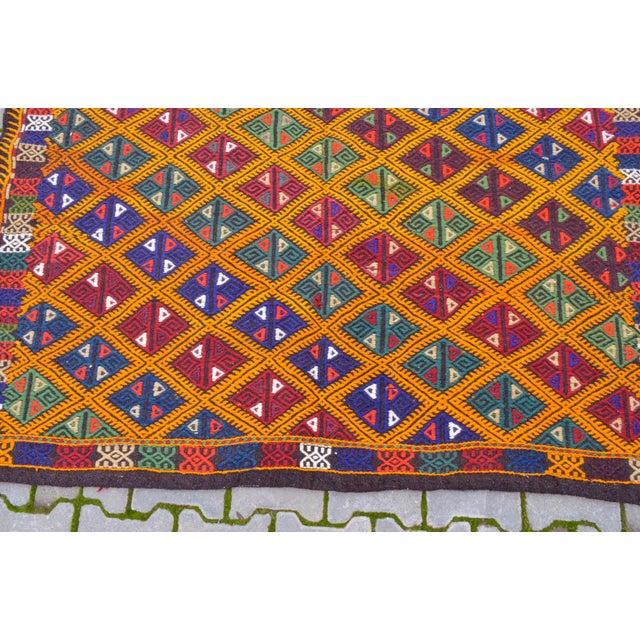 Yellow Handwoven Turkish Kilim Rug. Traditional Oushak Area Rug Braided Kilim - 5′6″ X 8′6″ For Sale - Image 8 of 10