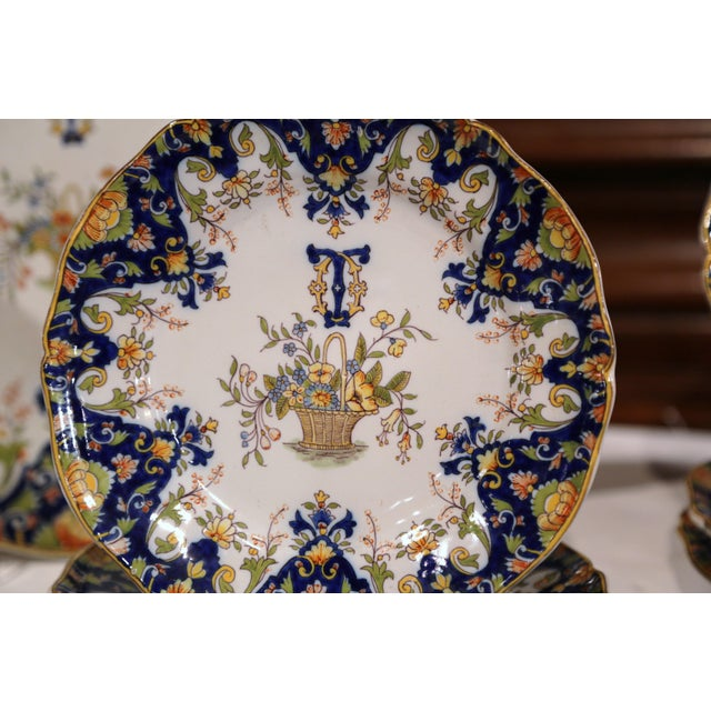 19th Century French Hand-Painted Plates and Dishes From Normandy - Set of 10 For Sale In Dallas - Image 6 of 10