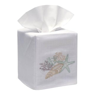 Shell Collection Tissue Box Cover - White Linen / Cotton, Embroidered For Sale