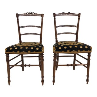 Mother-Of-Pearl Inlay Side Chairs - a Pair For Sale