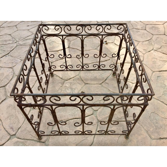 Moroccan Square Brown and Grey Mosaic Tile Coffee Table on Iron Base For Sale - Image 10 of 12