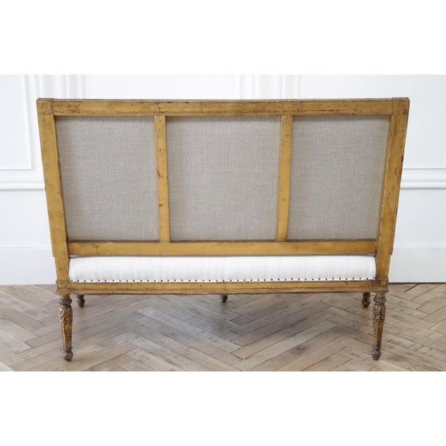 Antique Louis XVI Style Giltwood Settee in Linen For Sale - Image 10 of 13