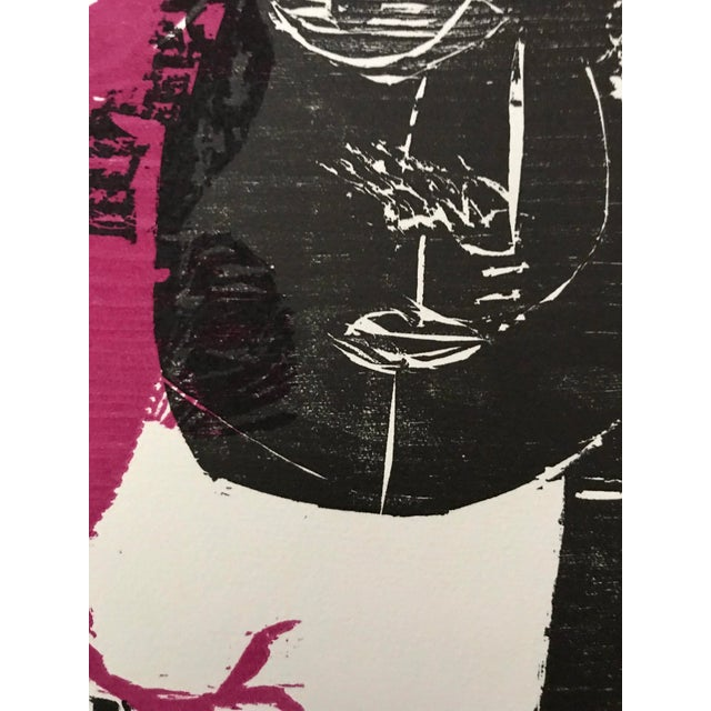 1960s 1966 - Waltraud Zeisig - Signed Linocut 'Dame'Mit Vogel' For Sale - Image 5 of 10